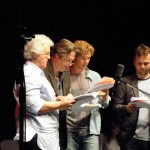 Stephanie Cole, Roger Allam, Benedict Cumberbatch and John Finnemore recording Cabin Pressure © design4living