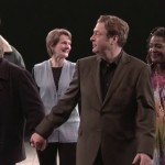 Simon Russell Beale and Roger Allam at the performance curtain call