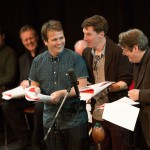 John Finnemore, Benedict Cumberbatch and Roger Allam recording Cabin Pressure © BBC - Photographer: Claire Haigh