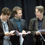Benedict Cumberbatch, John Finnemore and Roger Allam recording Cabin Pressure © BBC - Photographer: Claire Haigh
