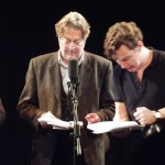 Roger Allam and Benedict Cumberbatch recording Cabin Pressure © cumberbuckin on Tumblr