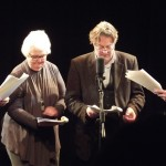 John Finnemore, Stephanie Cole, Roger Allam and Benedict Cumberbatch recording Cabin Pressure © cumberbuckin on Tumblr