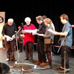 Timothy West, Stephanie Cole, Benedict Cumberbatch, Roger Allam, Mathilda Ziegler and John Finnemore recording Cabin Pressure © Margaux De Pauw