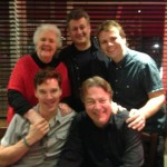 Stephanie Cole, David Tyler, John Finnemore, Benedict Cumberbatch and Roger Allam after recording the final episode of Cabin Pressure (Zurich) © John Finnemore, 2014
