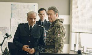 Bernard Schultz, Florian Bartholomai and Roger Allam © BBC/New Pictures/Sophie Mutevelian