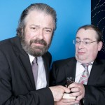 Roger Allam and Adam Tandy pick up a Televisual Bulldog Award for The Thick of It, 2013 © Wilde Fry
