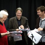 Stephanie Cole, Roger Allam and Benedict Cumberbatch recording Cabin Pressure © BBC - Photographer: Claire Haigh