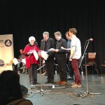 Stephanie Cole, Anthony Head, Roger Allam, John Finnemore and Benedict Cumberbatch recording Cabin Pressure © Margaux