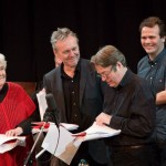 Stephanie Cole, Anthony Head, Roger Allam and John Finnemore recording Cabin Pressure © Pozzitive