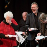 Stephanie Cole, Anthony Head and Roger Allam recording Cabin Pressure © Pozzitive