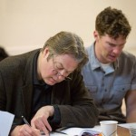 Roger Allam and Benedict Cumberbatch rehearsing Cabin Pressure's final episode (Zurich) © Pozzitive