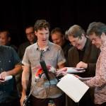 John Finnemore, Benedict Cumberbatch, Roger Allam and Gordon Kennedy recording Cabin Pressure © Pozzitive