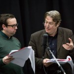 Dan Tetsell and Roger Allam recording Cabin Pressure © Pozzitive
