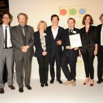 Best Drama Series: Parade's End. John Plunkett, Roger Allam, Michelle Buck, Benedict Cumberbatch, Damien Timmer, Rebecca Hall and Sir Tom Stoppard at the BPG Awards, 2013 © Broadcasting Press Guild