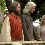 Harry Lloyd, Emilia Clarke and Roger Allam © HBO