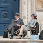 Caroline O'Neill and Roger Allam on the set of Endeavour series 4 © @Jodelle08, 2016