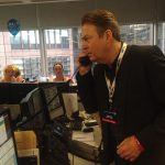 Who's that? It's only the brilliant @All_Allam on the phones, ladies and gentlemen! #ICAPCharityDay © @The_Globe 2016. Please visit www.icapcharityday.com/charities/2016-shakespeare-s-globe-trust