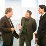 Roger Allam, Anthony Calf and Jacob Fortune-Lloyd in rehearsal for The Moderate Soprano at the Duke of York's Theatre © Johan Perrson, 2018